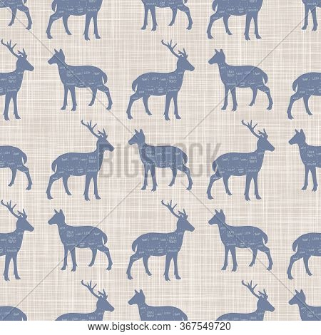 Seamless French Farmhouse Doe And Stag Cut Chart Silhouette Pattern. Farmhouse Linen Shabby Chic Sty