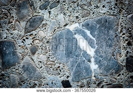 Concrete Different Gray Stone Surface. Grey Masonry, Stonework Texture. Rock Gloomy Pattern Backgrou