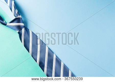 Happy Fathers Day Background Concept With Blue Necktie And The Text