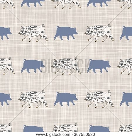 Seamless French Farmhouse Pig And Cut Chart Pattern. Farmhouse Linen Shabby Chic Style. Hand Drawn R
