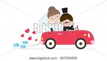 Ust Married Couple In Wedding Car, Bride And Groom On A Roadtrip In Car  After Wedding Ceremony , Ca