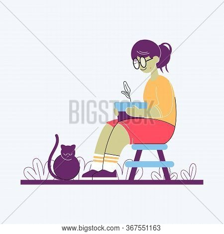 A Nerd Girl Sitting On A Chair And Holing A Pot With A Plant In Her Hands. Color Vector Flat Cartoon