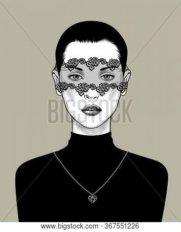 Girl full face with a decorative veil in front of the eyes and black polo neck. Vintage engraving stylized drawing