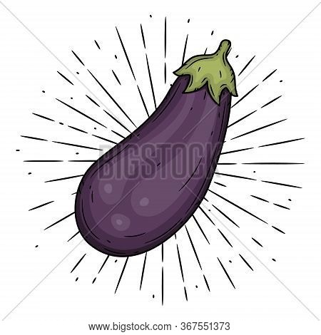 Eggplant. Hand Drawn Vector Illustration With Eggplant And Divergent Rays. Used For Poster, Banner,