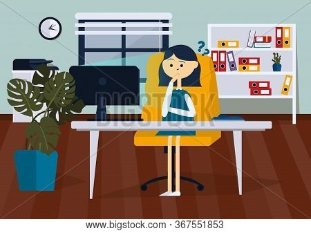 Businesswoman Is Upset Sitting On Office Chair At A Computer Desk. She Is Looking At The Computer Mo
