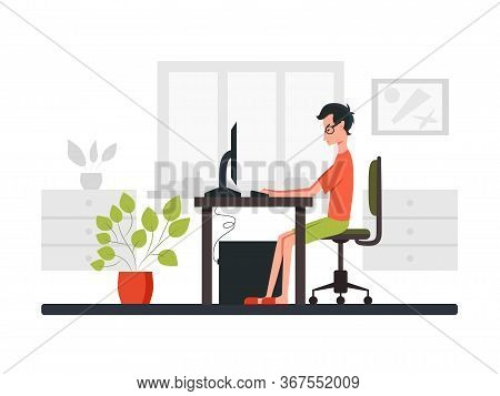Freelance Developer Looking At The Monitor And Typing On The Keyboard. Side View. Color Vector Carto