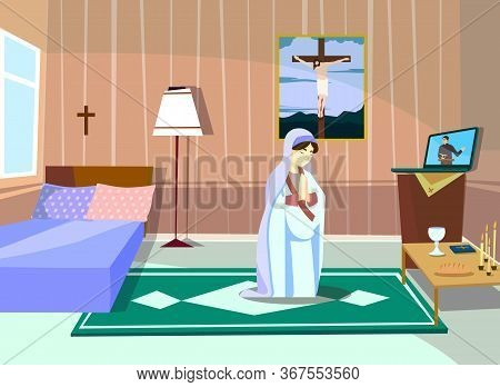 The Woman Is Praying. Preacher Confesses Online. Flat Cartoon Vector Color Illustration For Web. Con