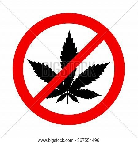 No Weed Allowed Sticker, Red Circle With Marijuana Leaf Symbol Crossed Out.