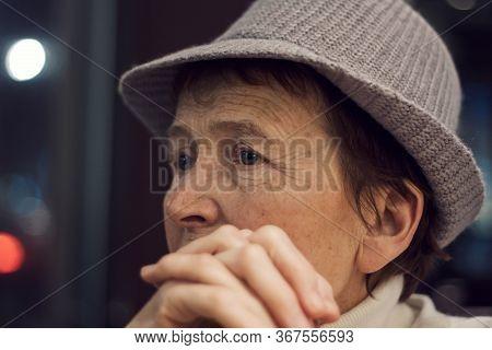 Closeup Portrait Of Sad Caucasian Old Woman. Beautiful Pensive Upset Mature Old Senior Female Thinki