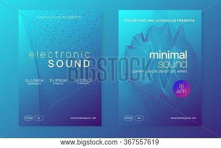 Music Fest. Futuristic Show Magazine Set. Dynamic Gradient Shape And Line. Music Fest Neon Flyer. El