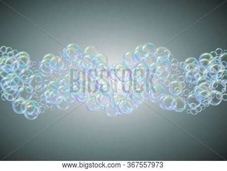 Fizz Background With Shampoo Foam And Soap Bubbles. 3d Vector Illustration Layout. Bright Spray And