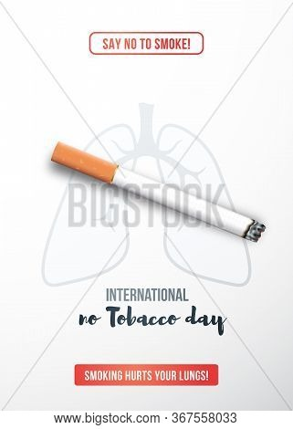 May 31, International No Tobacco Day. Stop Smoking Concept With Realistic Cigarette. Stock Vector Il