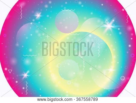Vibrant Gradients On Rainbow Background. Holographic Dynamic Fluid. Cosmos Hologram. Graphic Templat