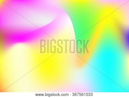 Hologram Abstract Background. Rainbow Gradient Mesh Backdrop With Hologram. 90s, 80s Retro Style. Ir