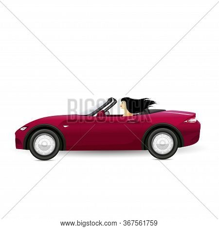 Brunette Driving A Red Convertible. Woman Driving. Vector Illustration.