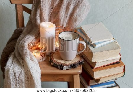 Self Isolation, Please Stay Home. Still Life Details In Home Interior Of Living Room. Sweaters And C