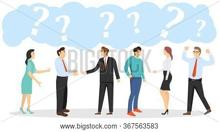 Talking People, People Stand And Talk Among Themselves. People Are Asking Questions. Vector Illustra