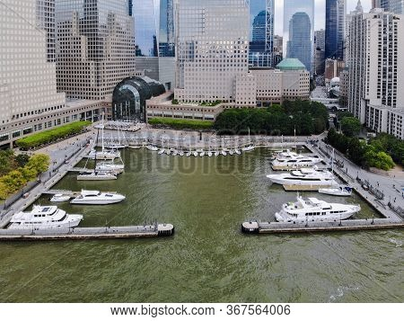 Aerial View Of Boats Docked At The North Cove Marina, Hudson River At Battery Park In Manhattan With