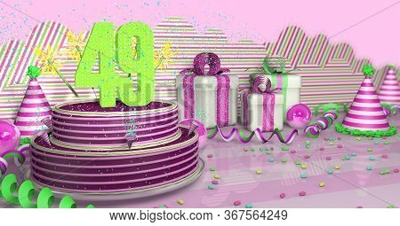 Purple Round 49 Birthday Cake Decorated With Colorful Sparks And Pink Lines On A Bright Table With G