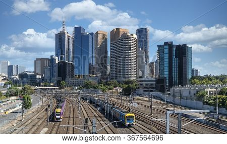 Trains Taveling In And Out Of The City Of Melbourne, Australia