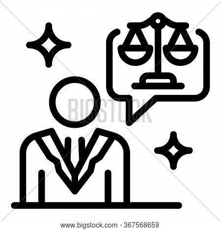 Prosecutor Balance Justice Icon. Outline Prosecutor Balance Justice Vector Icon For Web Design Isola