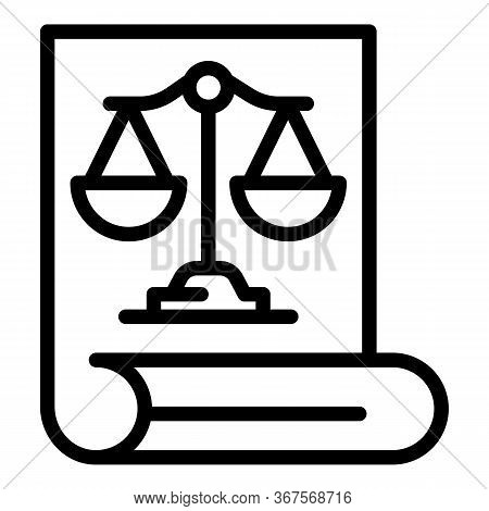 Prosecutor Document Icon. Outline Prosecutor Document Vector Icon For Web Design Isolated On White B
