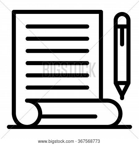 Judgment Pen Paper Icon. Outline Judgment Pen Paper Vector Icon For Web Design Isolated On White Bac