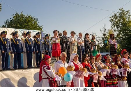 Genichesk, Ukraine - August 26, 2017: Festival Of National Cultures. The Organizers Of The Festival,