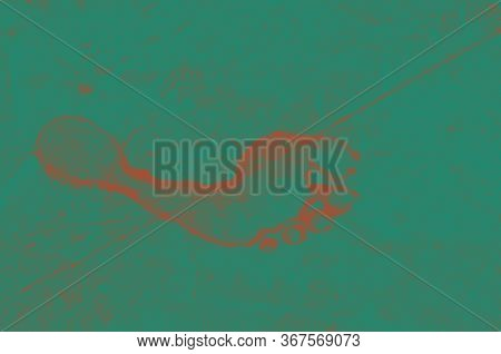 The Road Tire And The Human Footprint On The Road. Background Texture, Pattern Of Green And Red. Tex