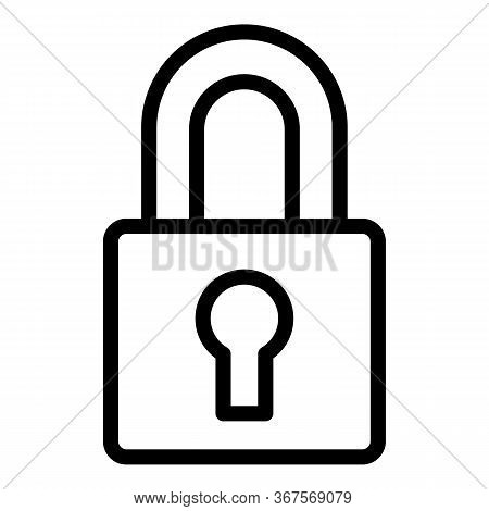 Padlock Icon. Outline Padlock Vector Icon For Web Design Isolated On White Background