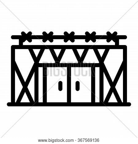 Prison Building Icon. Outline Prison Building Vector Icon For Web Design Isolated On White Backgroun