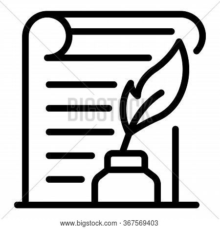 Notary Ink Pen Paper Icon. Outline Notary Ink Pen Paper Vector Icon For Web Design Isolated On White