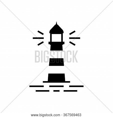 The Lighthouse Building Icon Flat Vector Template Design Trendy