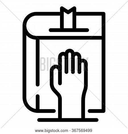 Notary Oath Icon. Outline Notary Oath Vector Icon For Web Design Isolated On White Background