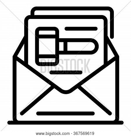 Judge Letter Decision Icon. Outline Judge Letter Decision Vector Icon For Web Design Isolated On Whi