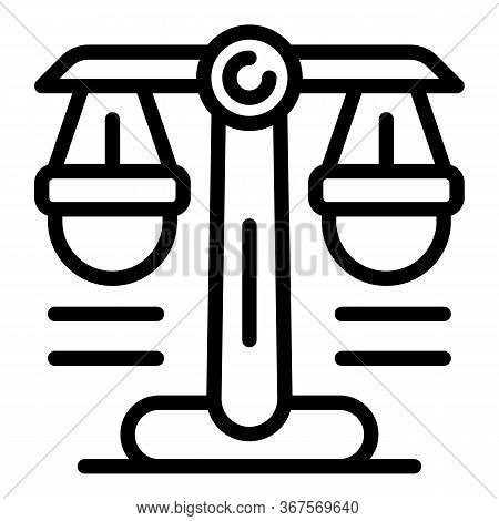 Notary Judge Balance Icon. Outline Notary Judge Balance Vector Icon For Web Design Isolated On White