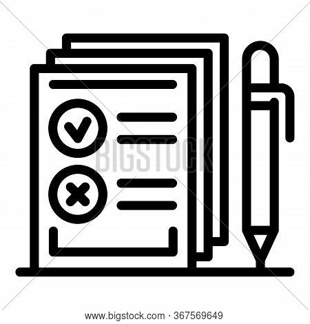 Agency Notary Papers Icon. Outline Agency Notary Papers Vector Icon For Web Design Isolated On White