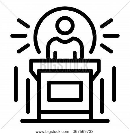 Notary Speaker Icon. Outline Notary Speaker Vector Icon For Web Design Isolated On White Background
