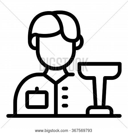 Bartender And A Glass Icon. Outline Bartender And A Glass Vector Icon For Web Design Isolated On Whi