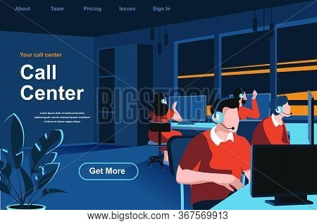 Call Center Isometric Landing Page. Hotline Operators With Headsets In Office Website Template. Onli