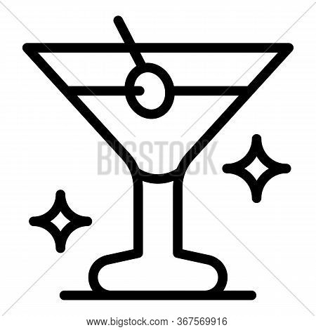Martini In A Glass Icon. Outline Martini In A Glass Vector Icon For Web Design Isolated On White Bac