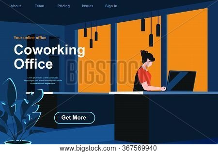 Coworking Office Isometric Landing Page. Woman Working With Computer In Coworking Space Website Temp