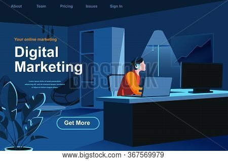 Digital Marketing Isometric Landing Page. Marketer Working With Computer In Office Website Template.