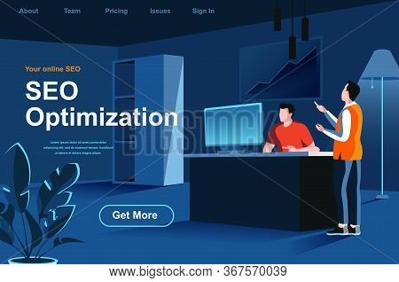 Seo Optimization Isometric Landing Page. Marketing Team Working In Office Website Template. Analyze