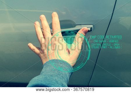 Human Chipping Concept, New Technologies. A Male Hand With An Implantable Chip Opens The Door Of A C