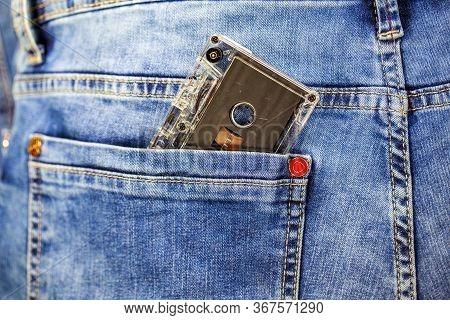 Retro Cassette In The Back Pocket Of Jeans, Audio Cassette In The Back Pocket Of Your Jeans