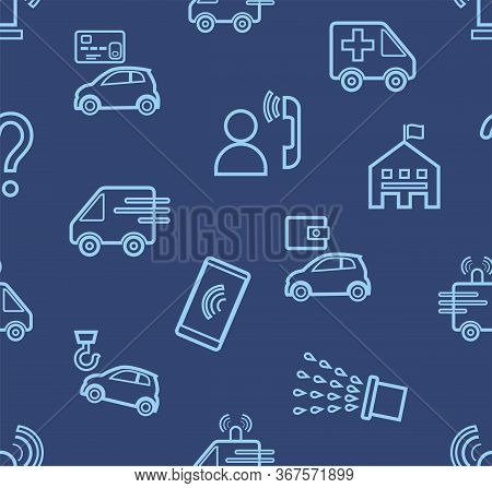 Emergency Services, Seamless Pattern, Contour Drawing, Blue, Color, Flat, Vector. Thin Contour Drawi
