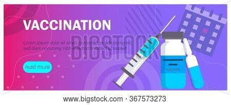 Vaccination concept illustration. Medical document with medicine and equipment. Vaccination concept illustration. Syringe and vaccine set of medical tools for vaccination. Flu shot concept on the blue background. Time to vaccinate. Get your flu shot. Syri