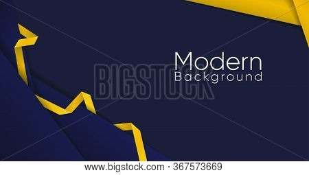 Abstract Aesthetic Background Navy With Gold Ribbon