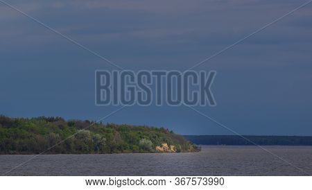 Dnepr River Coast In Ukraine. Park Trakhtemyriv. Batura Mountain